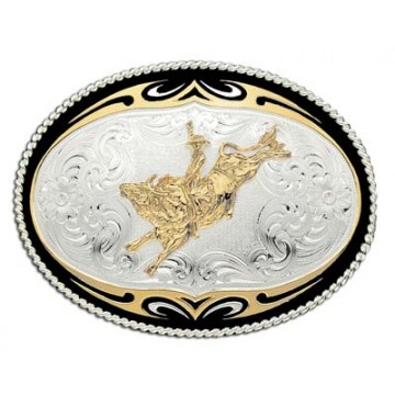 Oval Tribal Edge Bullrider Buckle
