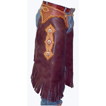 Custom Tooled Leather Chinks