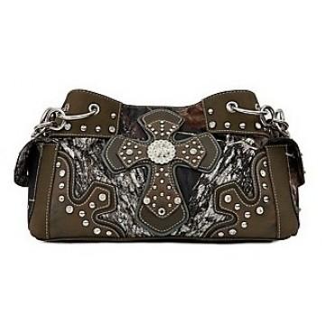 Mossy Oak Camo w/ Cross & Rhinestones Multi Pocket Handbag