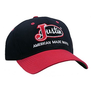 Justin® Black with Red Bill Logo Cap