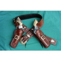2 1/2 inch  Wide Straight Belt & 2 Holsters