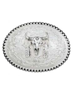 Buffalo Skull with Feathers Buckle