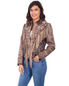 Embroidered Fringe Suede Jacket by Scully