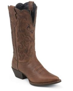 Dark Brown Mustang Cowhide Boot by Justin