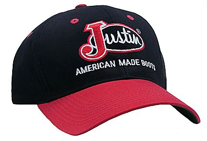 Justin® Black with Red Bill Logo Cap - Jacksons Western Store feceb5304f0