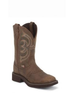 Aged Bark with Perf Saddle Boot by Justin